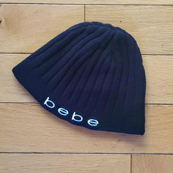 Bebe black knit cotton beanie nwot